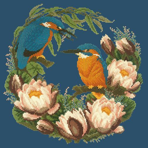 Water Lilies Needlepoint Kit Elizabeth Bradley Design Dark Blue