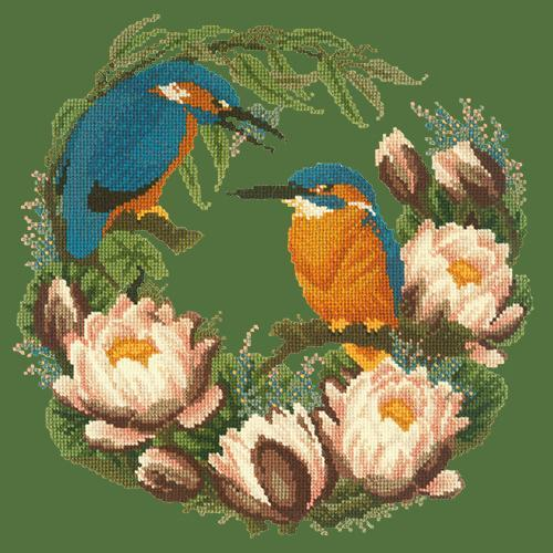 Water Lilies Needlepoint Kit Elizabeth Bradley Design Dark Green