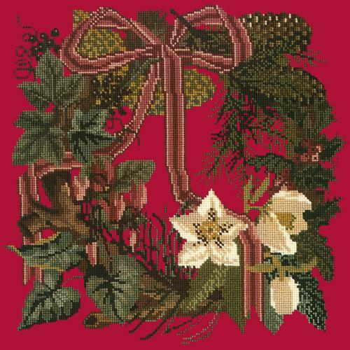 Winter Wreath Needlepoint Kit Elizabeth Bradley Design Bright Red