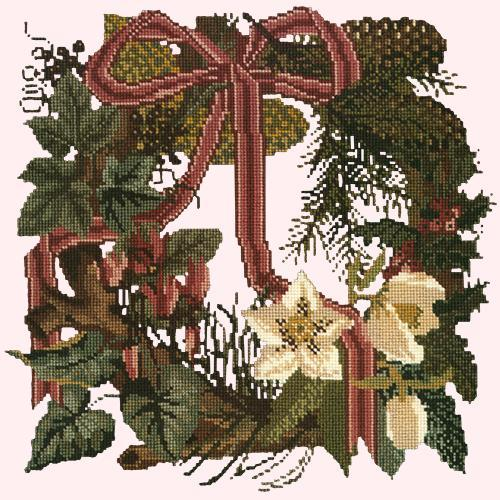 Winter Wreath Needlepoint Kit Elizabeth Bradley Design Cream