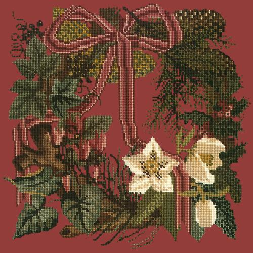 Winter Wreath Needlepoint Kit Elizabeth Bradley Design Dark Red