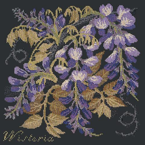 Wisteria Needlepoint Kit Elizabeth Bradley Design Black