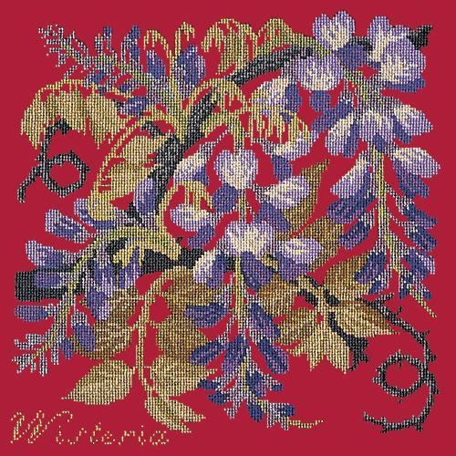 Wisteria Needlepoint Kit Elizabeth Bradley Design Bright Red