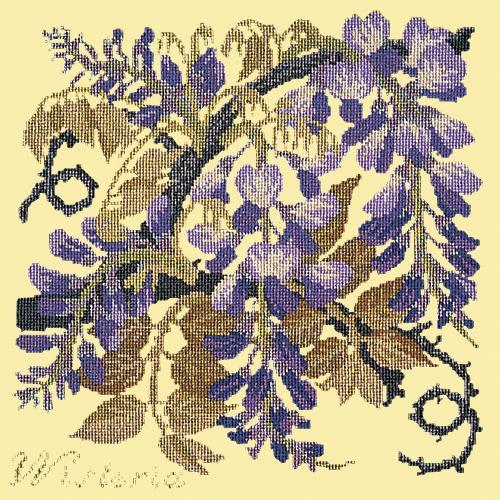 Wisteria Needlepoint Kit Elizabeth Bradley Design Butter Yellow