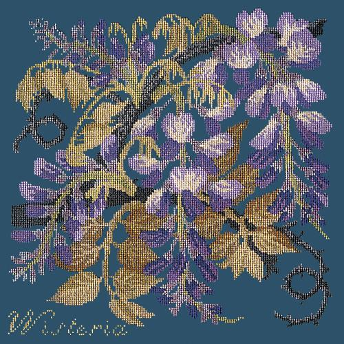 Wisteria Needlepoint Kit Elizabeth Bradley Design Dark Blue