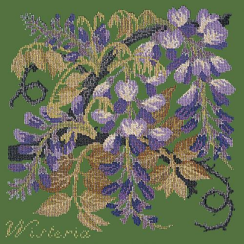 Wisteria Needlepoint Kit Elizabeth Bradley Design Dark Green
