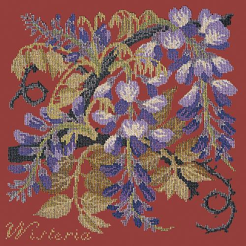 Wisteria Needlepoint Kit Elizabeth Bradley Design Dark Red