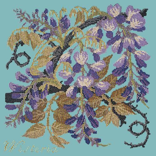 Wisteria Needlepoint Kit Elizabeth Bradley Design Duck Egg Blue