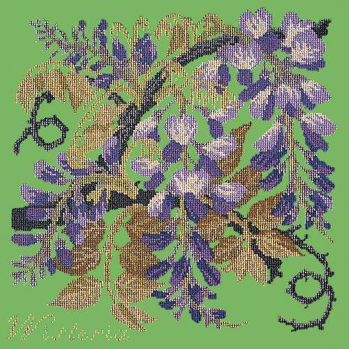 Wisteria Needlepoint Kit Elizabeth Bradley Design Grass Green