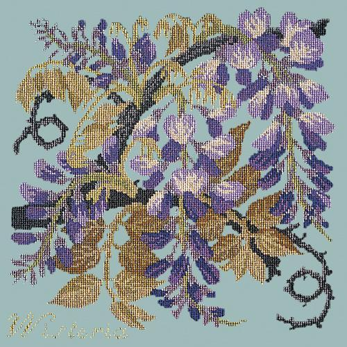 Wisteria Needlepoint Kit Elizabeth Bradley Design Pale Blue