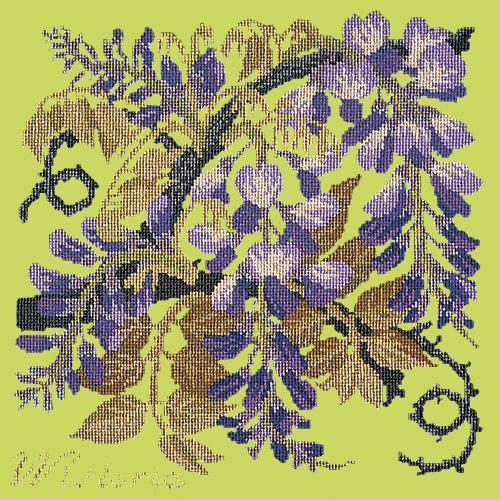 Wisteria Needlepoint Kit Elizabeth Bradley Design Pale Lime