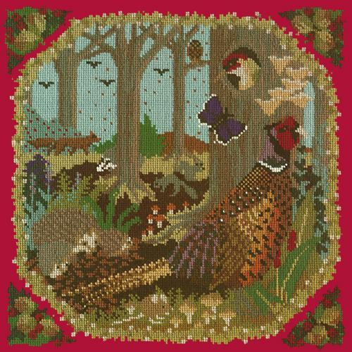 Woodland Needlepoint Kit Elizabeth Bradley Design Bright Red