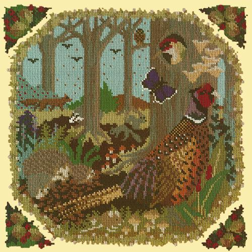 Woodland Needlepoint Kit Elizabeth Bradley Design Butter Yellow