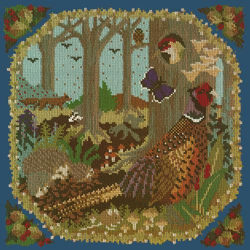 Woodland Needlepoint Kit Elizabeth Bradley Design Dark Blue