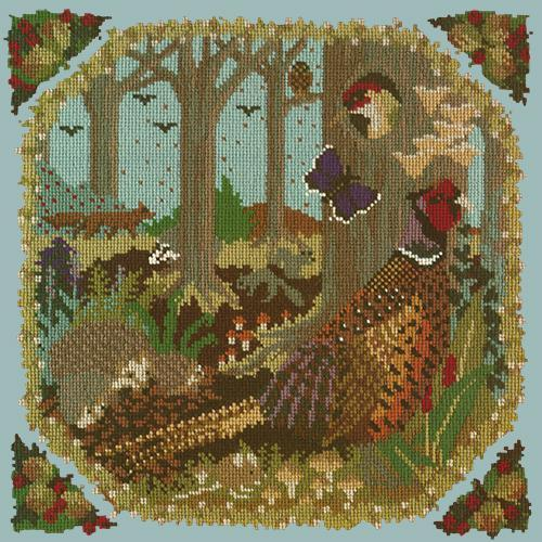 Woodland Needlepoint Kit Elizabeth Bradley Design Pale Blue