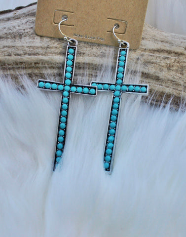 Crystal Turquoise Inlaid Cross Earrings