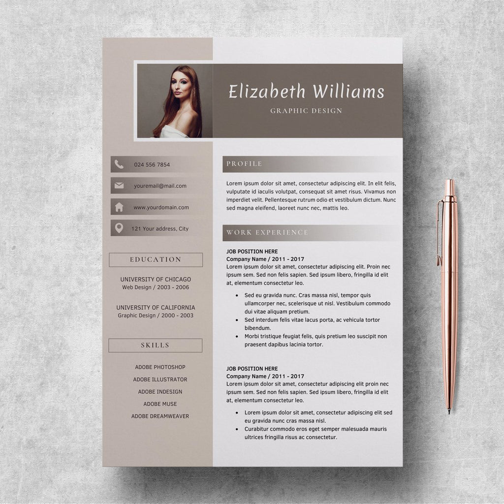 Editable Resume Templates Cv Format Word Elizabeth Williams