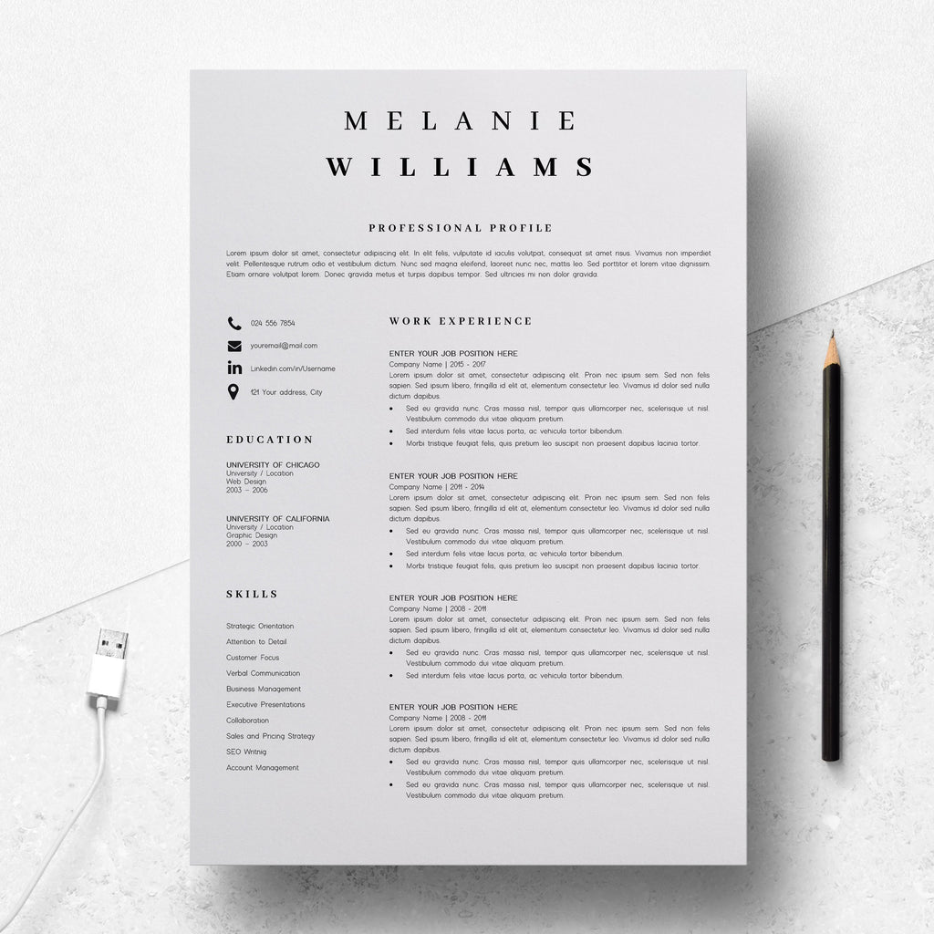 Simple Resume Format Resume Template Minimalist Melanie