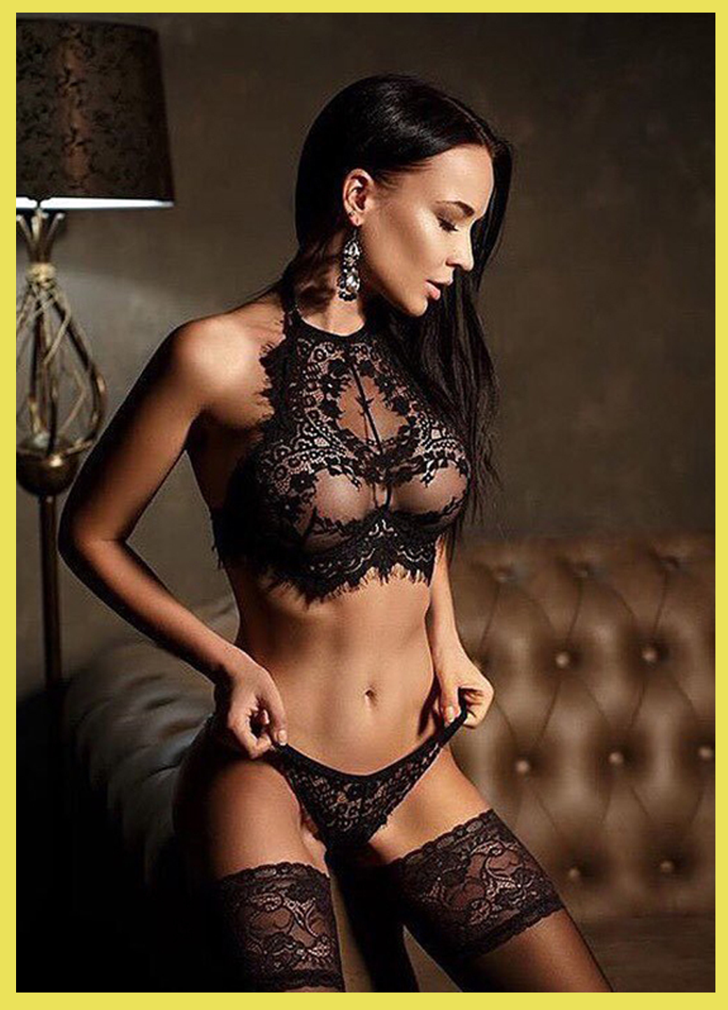 Lingerie Hot Black Lace Strap