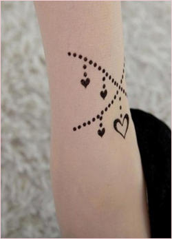 Tattoo Pattern Transparent Sheer Pantyhose LoveHeart