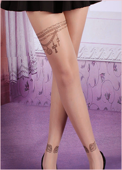 Tattoo Pattern Transparent Sheer Pantyhose