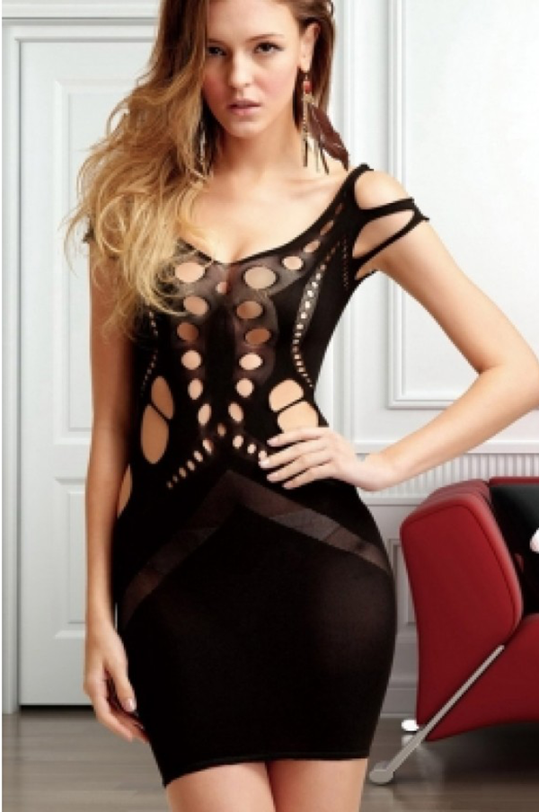 double shoulder open work opaque chemise