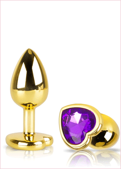 Jewel Heart Gold Metal Plug