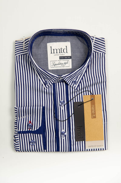 name it - Blue and White Pin Stripe Shirt