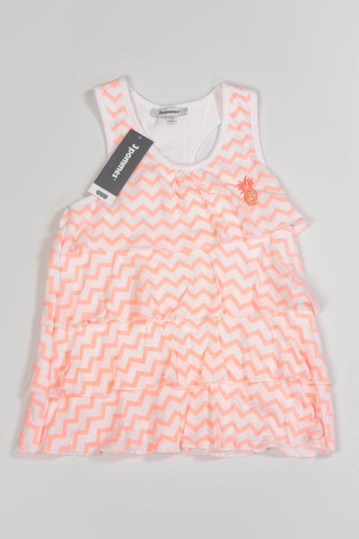 3 Pommes - Girls Neon Orange and White Beach Vest