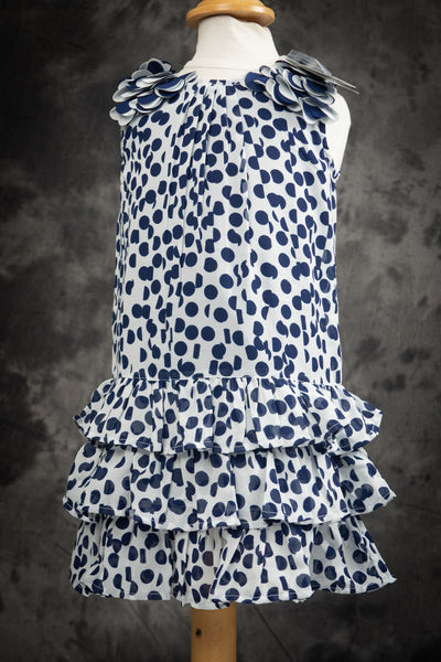 3 Pommes - Girl's Navy and White Dress
