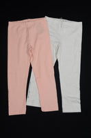3 Pommes - Girls Cropped Leggings ( 2 Pack) White and Pink