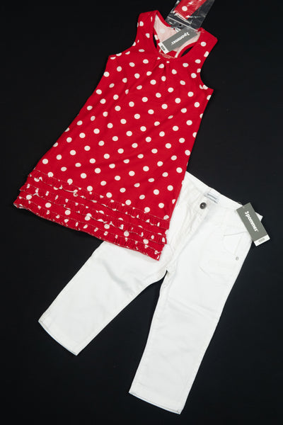 3 Pommes - Two Piece: White Jeans and Red Dress