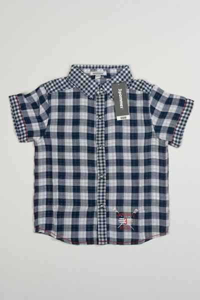 3 Pommes - Boys Blue and White Check Shirt