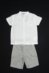 3 Pommes - Two piece Boys Shorts and Shirt (white/grey)