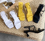 Knish's square toe designer sandals