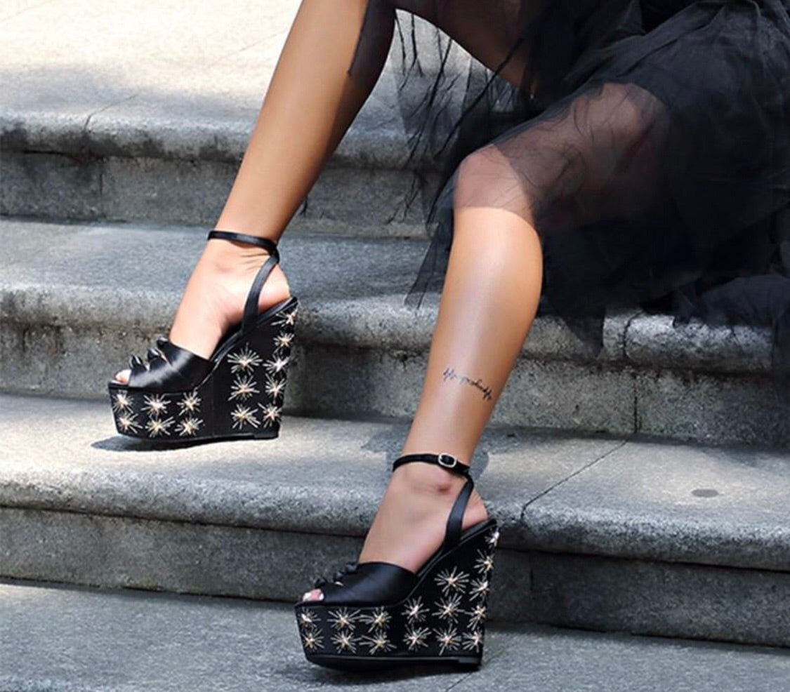 Knish's Black Silk And Gold Stars Platforms
