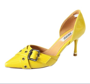 Yellow Patent Leather Medium Shoes