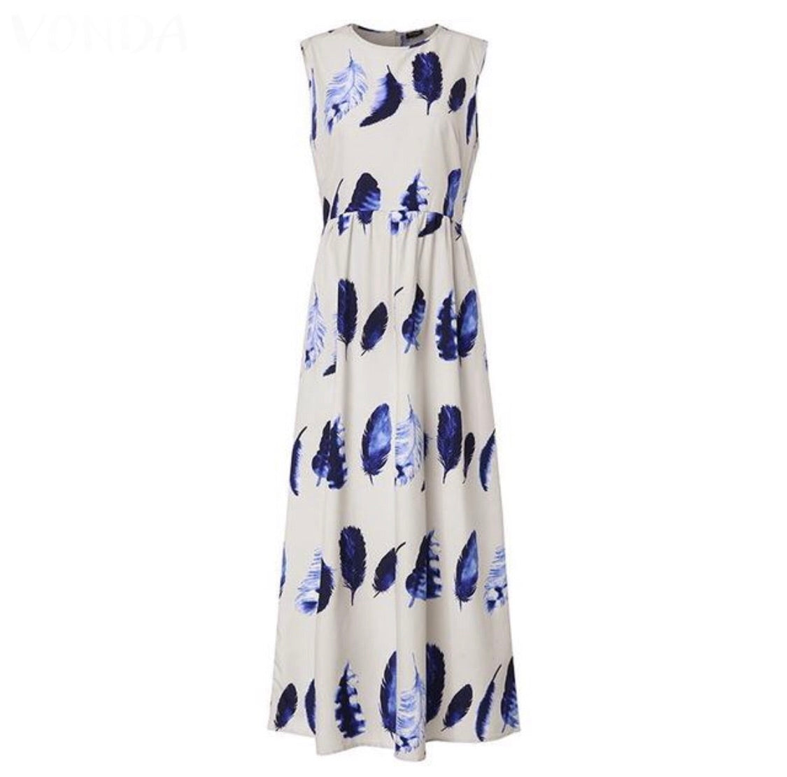 Maxi Dress Printed Leaves Plus Size