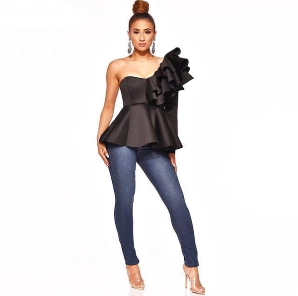Skew Collar One Shoulder Ruffle Blouse
