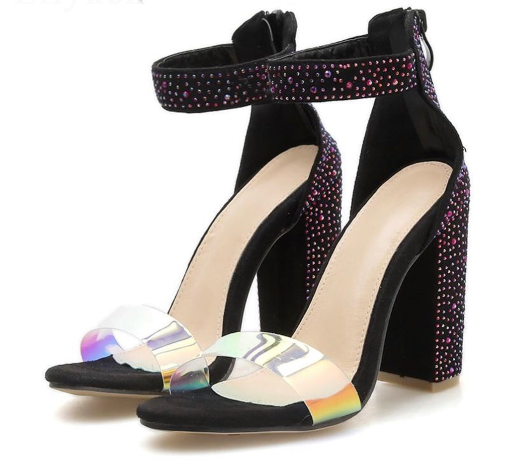 Transparent Sequins Party Heels