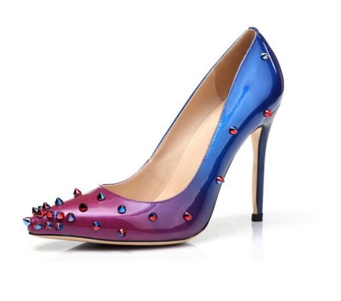 Top Quality Mixed Color Spike leather Heels