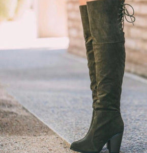 Suede Dark Army Green Block Heels