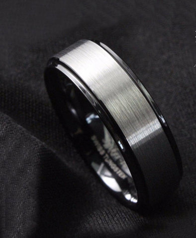 8mm Black Brushed Titanium Color Tungsten ring