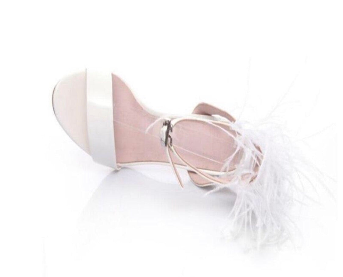 Elegant Solid White Feather Shoes