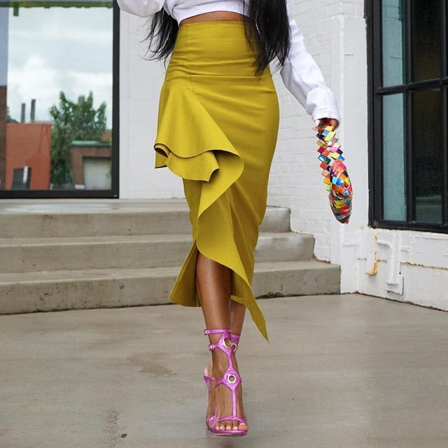 Knish's Yellow Pencil Skirt