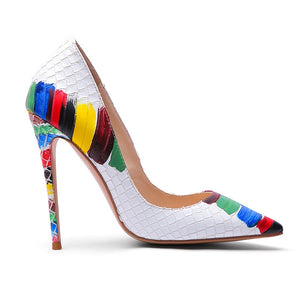 Colorful Croc Pattern High Heels