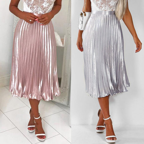 Pleated  Long Metallic Midi Skirt