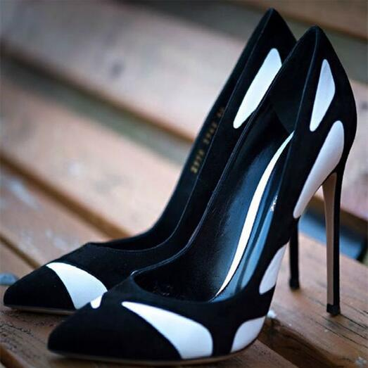 Black And White Pointed Pumps