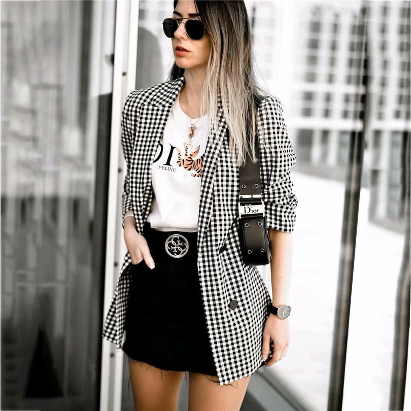Women Elegant Black White Plaid Blazer