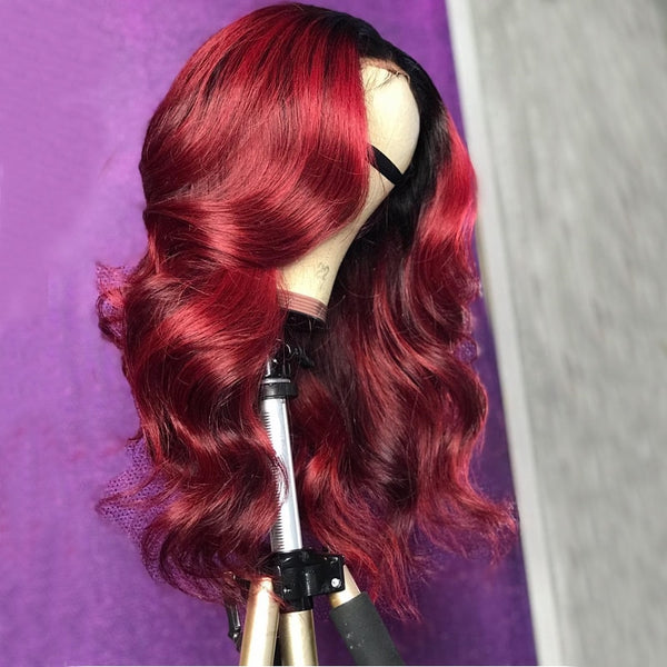 Burgundy Lace Front Wig Colored Ombre Brazilian Body Wave 360 Lace Frontal Wig 150% Remy